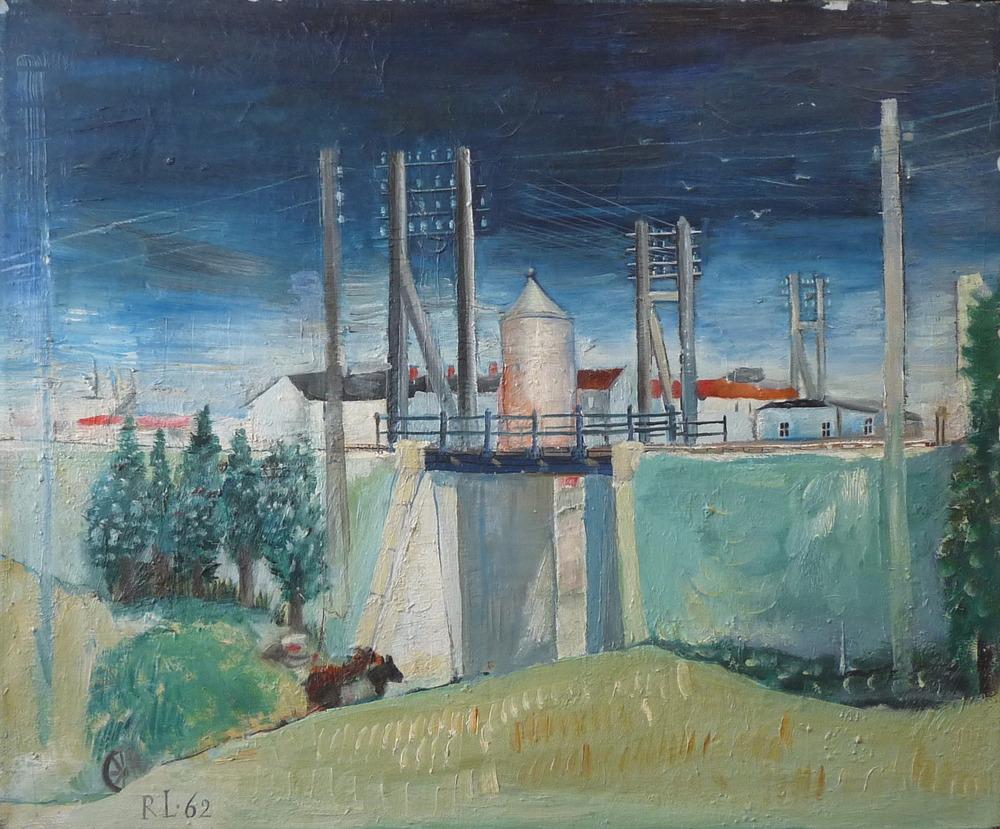 Rolf Lindemann:Telegrafenstangen mit Brücke