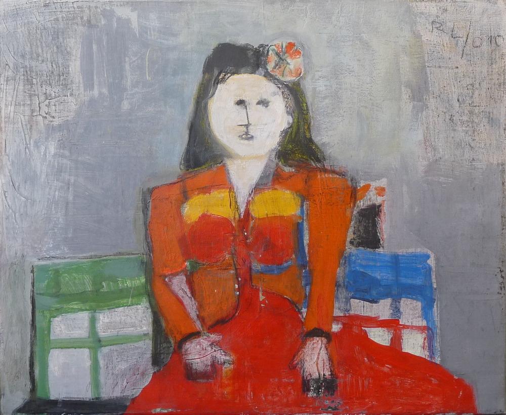 Rolf Lindemann:Frau im roten Kleid