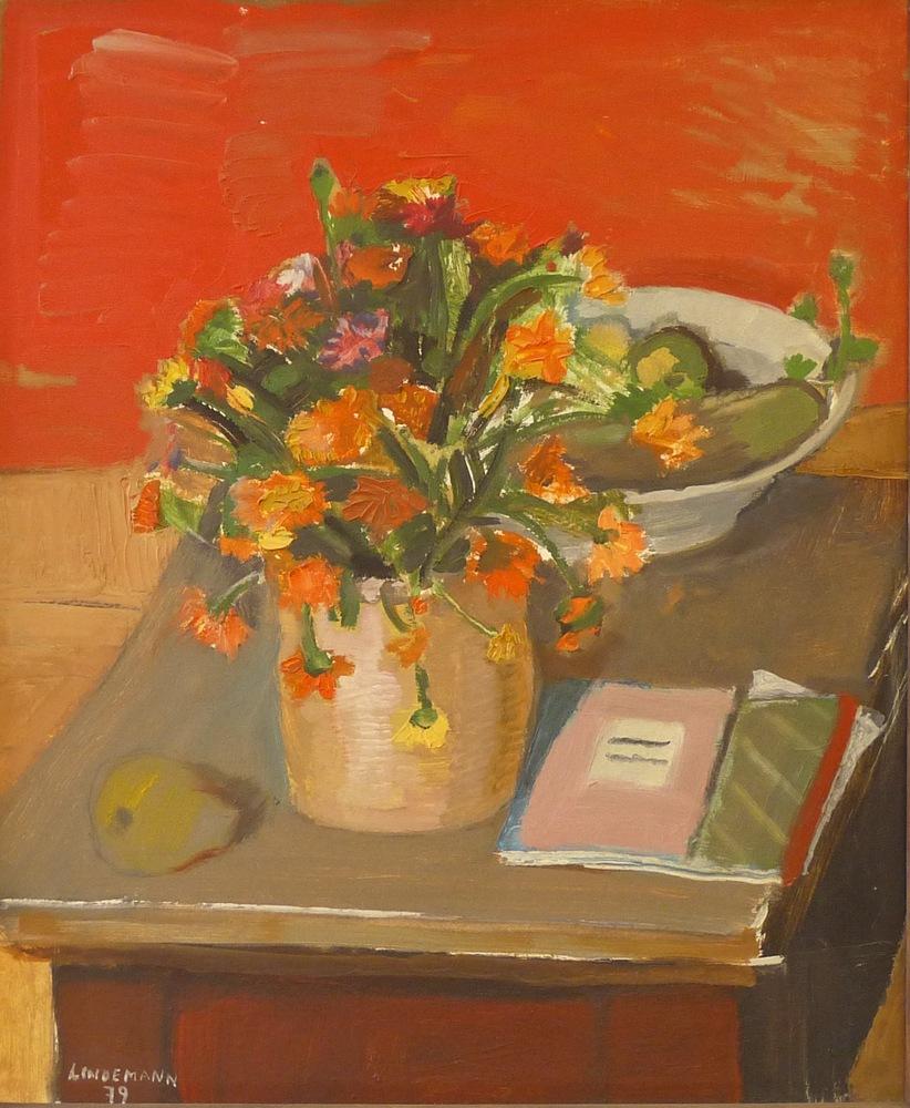 Rolf Lindemann:Blumen vor rotem Grund