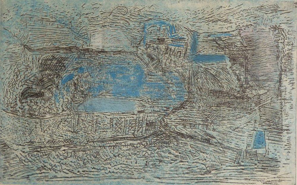 Rolf Lindemann:Blaue Landschaft