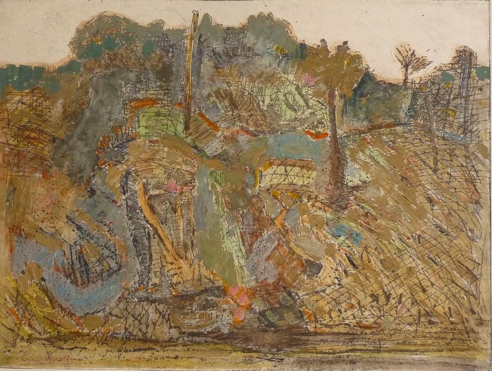 Rolf Lindemann:Landschaft mit Bäumen